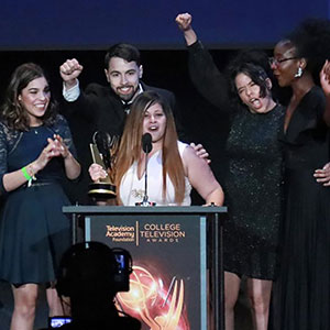 Students celebrating College Oscar victory