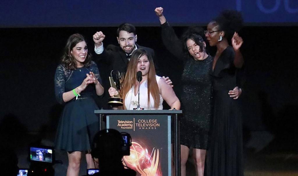 Students celebrating College Oscar victory