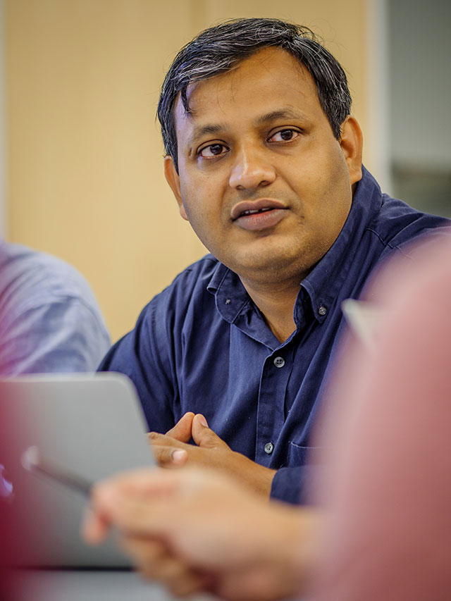 Pankaj Lal (above left) is leading the University's Clean Energy and Sustainability Analytics Center.