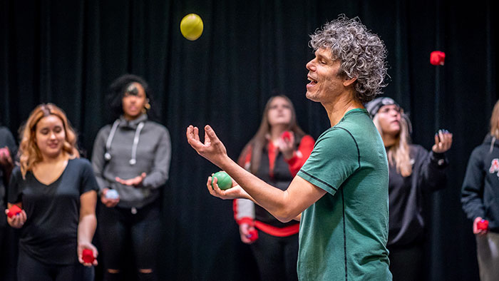 World-renowned juggler Sean Gandini teaches Montclair State students the art – and math – of juggling.