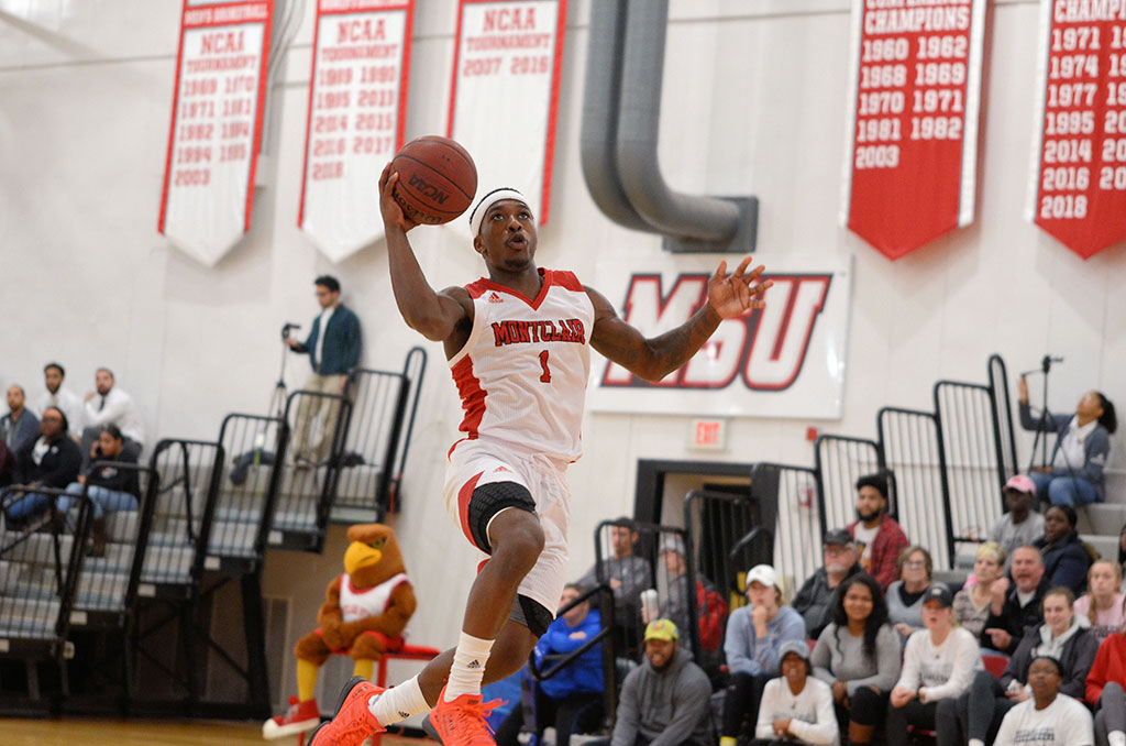 Myles Mitchell-White goes up for a layup prior to making his buzzer-beater shot.