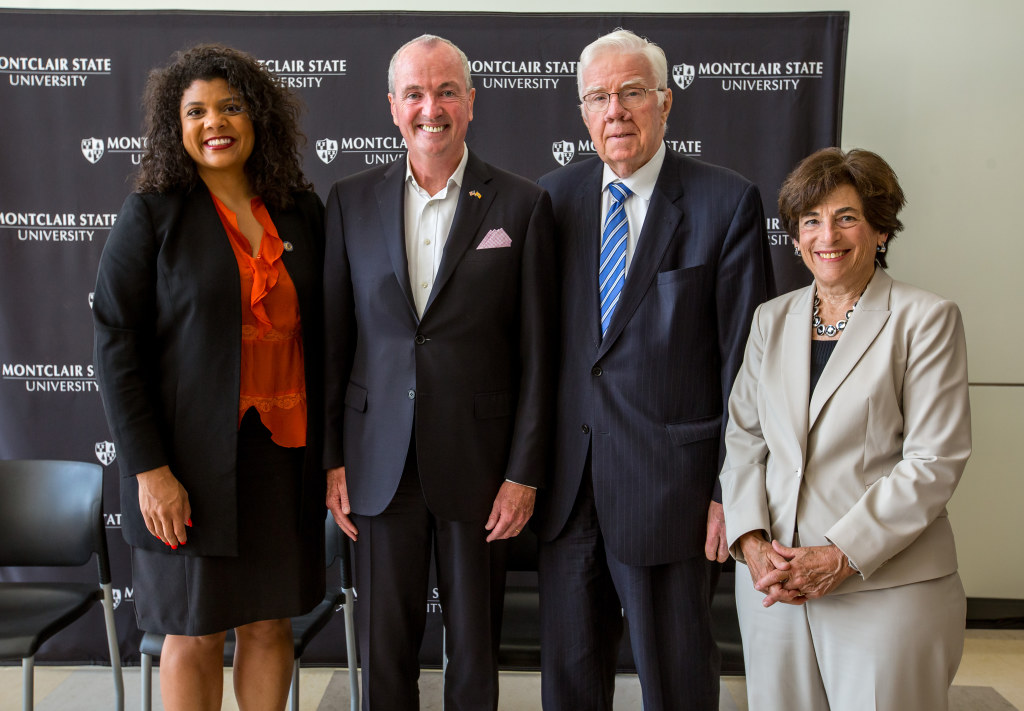 N.J. Assemblywoman Britnee N. Timberlake (left) and Assemblyman Thomas P. Giblin (center right) joined Governor Murphy and President Cole to launch the STEM Innovation Fellowship.