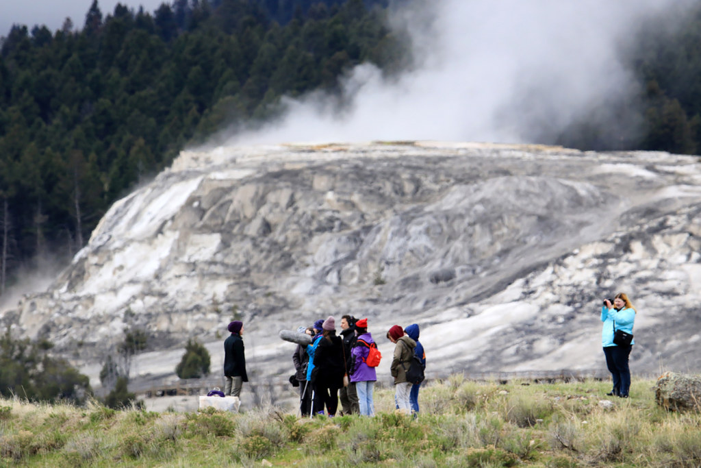 Jets of steam surround Montclair State students as they record sounds and film the Grand Tetons and the geysers and mud pits of Yellowstone National Park.