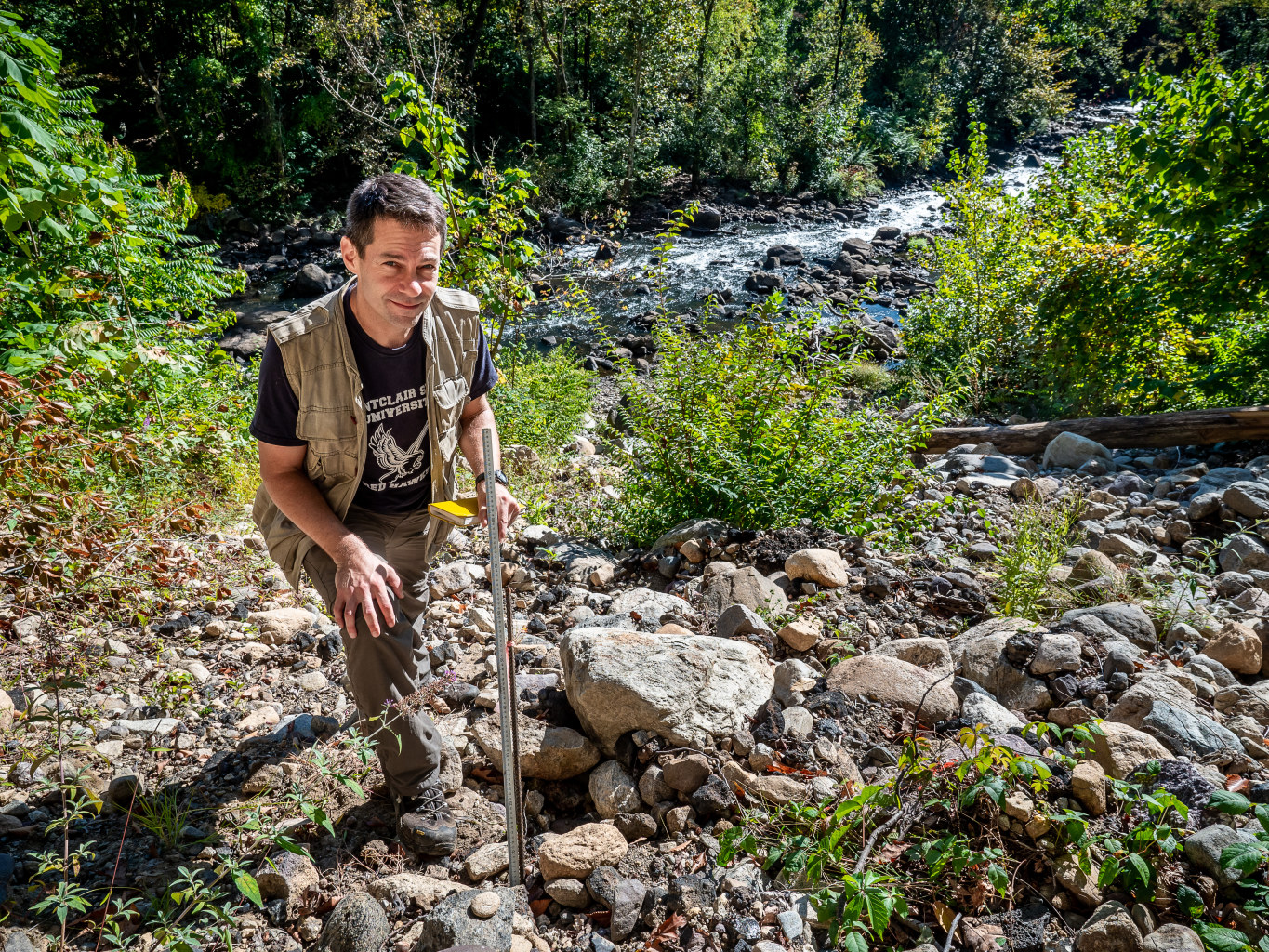 Joshua Galster studies how land use and climate change affect rivers and streams.