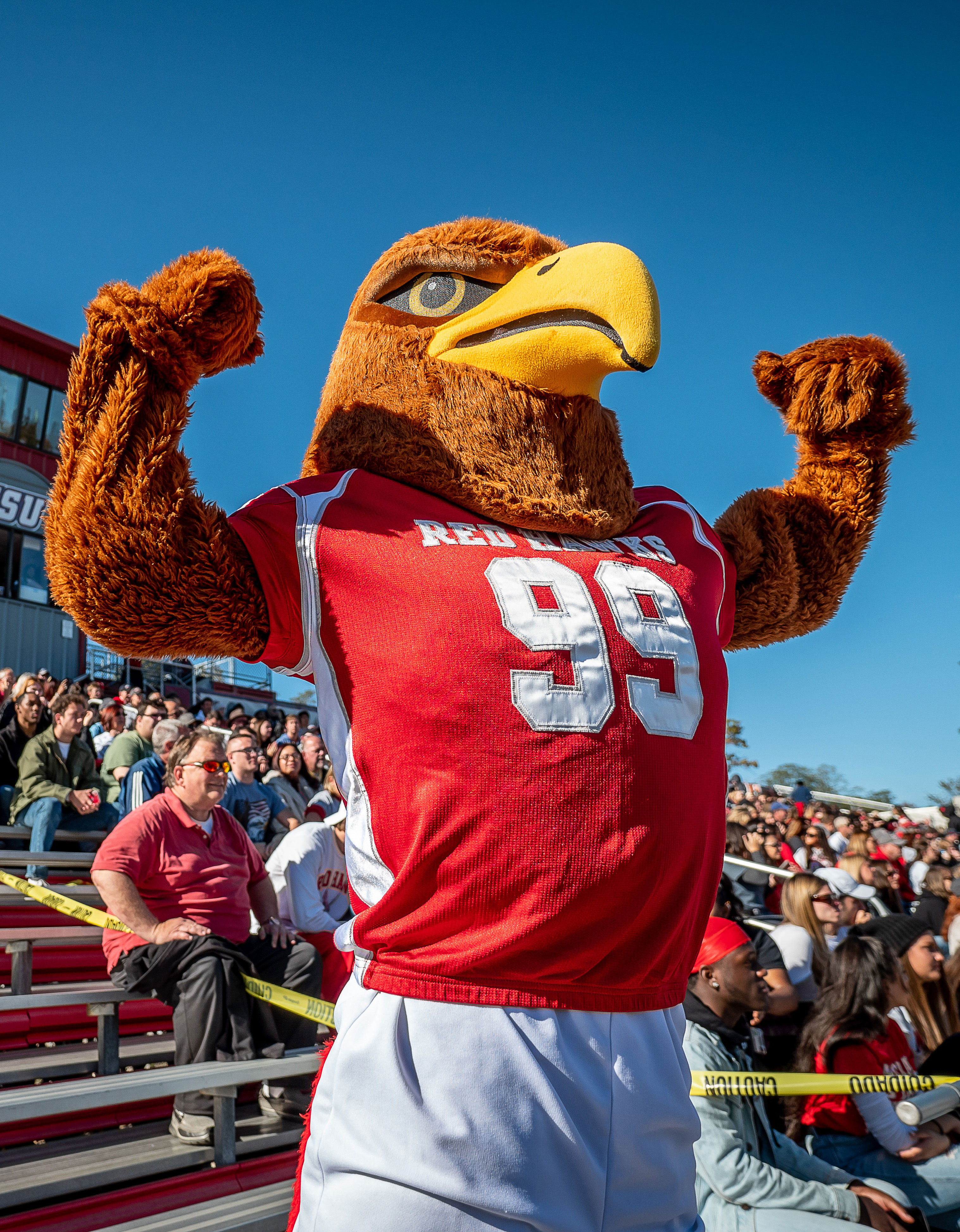 Rocky the Red Hawk at Homecoming 2019