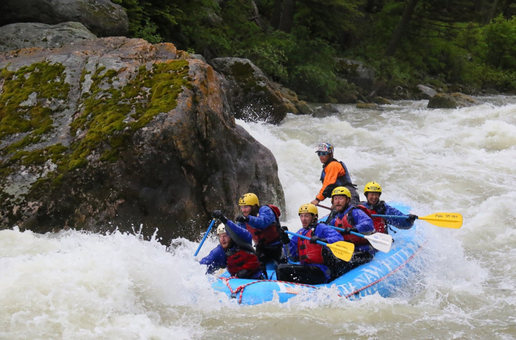 Montclair State geology students whitewater rafting the rapids on the Gallatin River, near Bozeman, Montana.