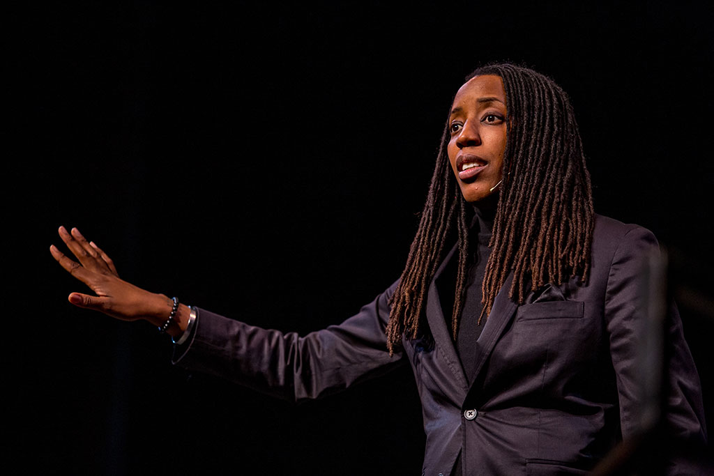 Bettina Love, an educational scholar, appears at Montclair State as part of the Critical Urban Education Speaker Series. She was also a guest of the Teacher Academy, challenging ninth graders in Newark to reflect on what it means to teach for social justice.