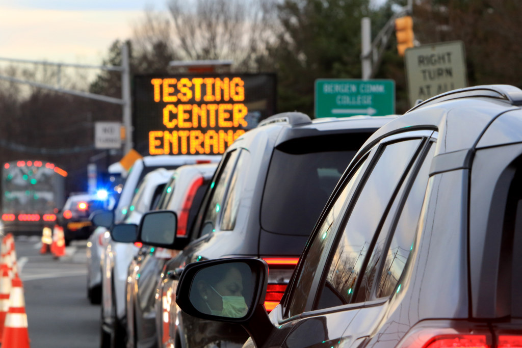 New Jersey residents tested for COVID-19 at a Bergen County drive-through center.