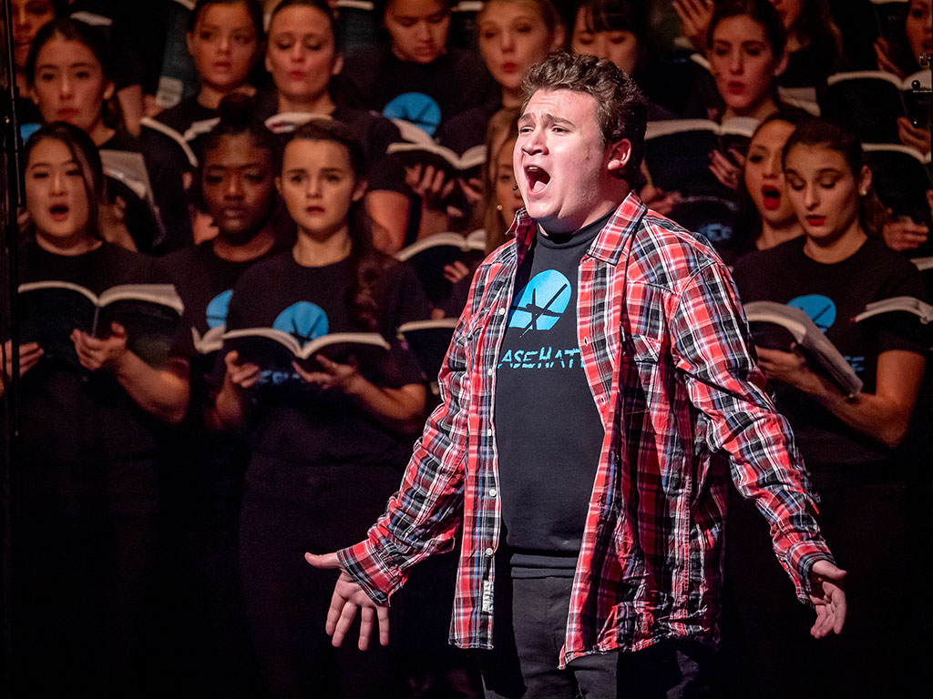 Nick Scafuto, a sophomore Music Education major from Martinsville, New Jersey, was among the members of Montclair State's choirs who made a challenging and inspirational work soar.