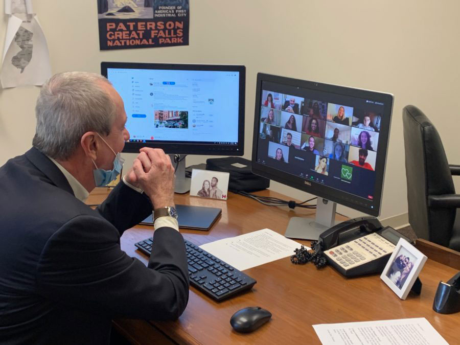Governor Phil Murphy using Zoom on computer