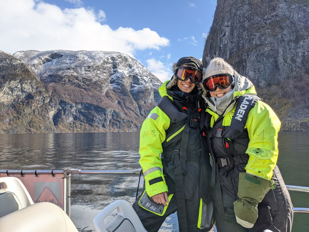 Ariana Leyton, who graduated with degrees in Sustainability Science, and Dylan White, a senior studying Business Administration, in the Norwegian fjords.