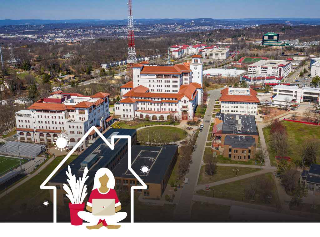Campus aerial shot with icon of girl using laptop