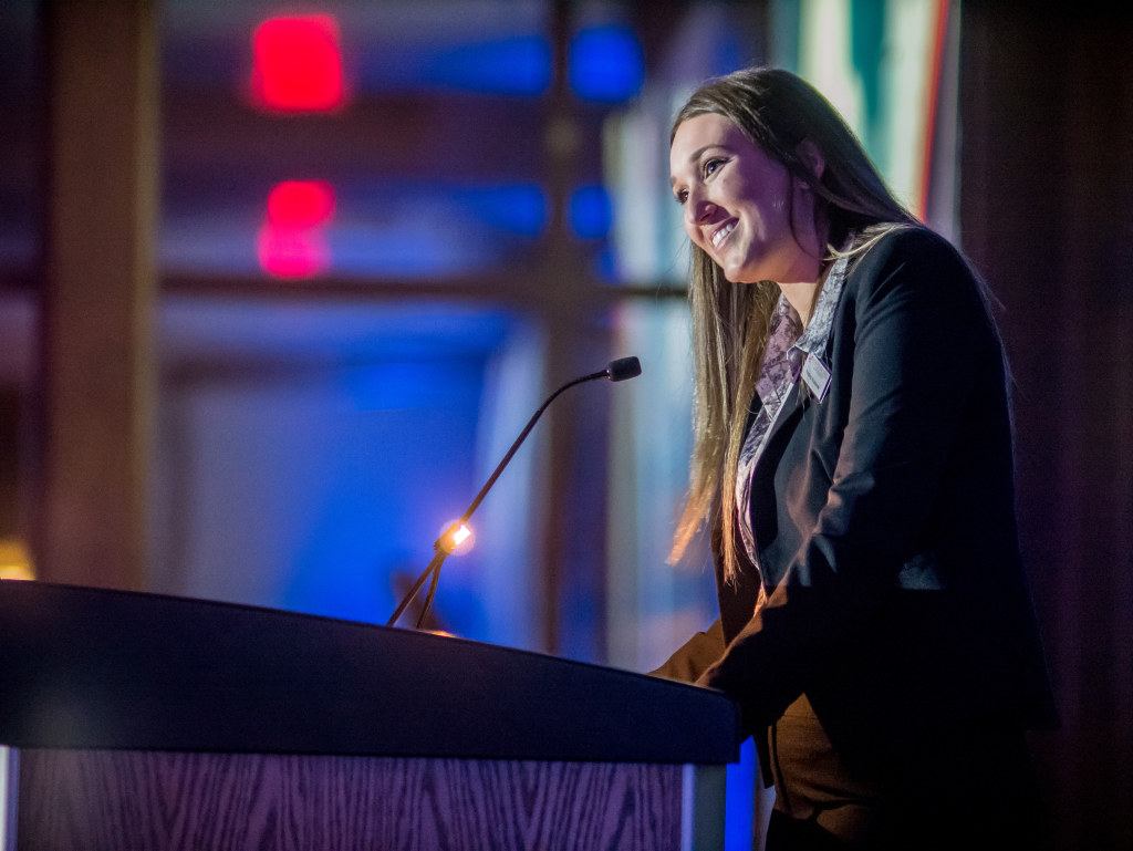Kristina Kostovski '18 spoke at the 2018 Annual Scholarship Dinner. An Accounting major, she graduated with a job at a Big Four accounting firm fueled by generous scholarship support throughout college.