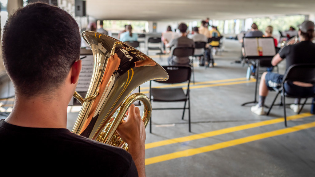 The Symphonic Band, Wind Symphony, and University Singers all held their rehearsals in the Red Hawk Deck.