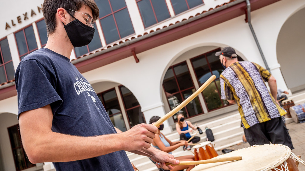 Percussion class outside the Kasser Theater.
