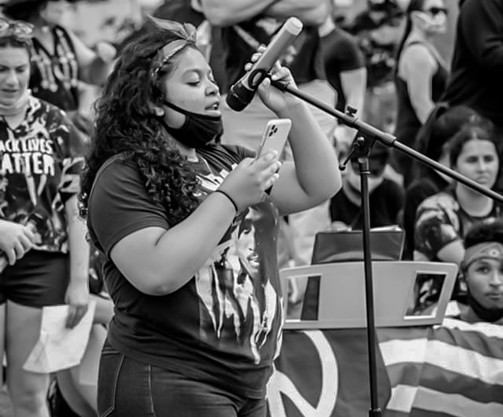 Jayda Lindsey '20 addresses the rally in Wayne, New Jersey.