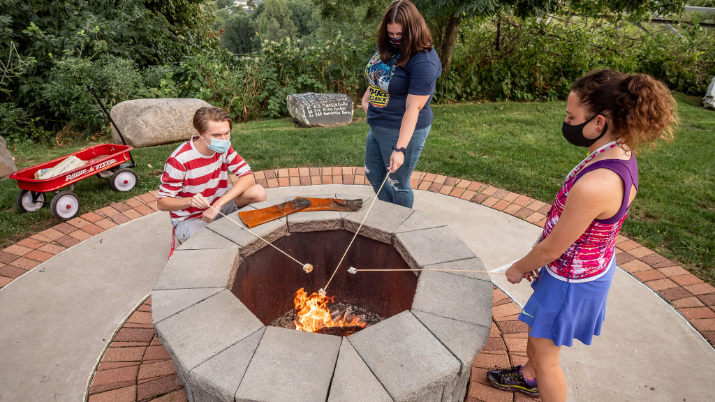 Friday night fire pits offered an outdoor in-person activity for student bonding.