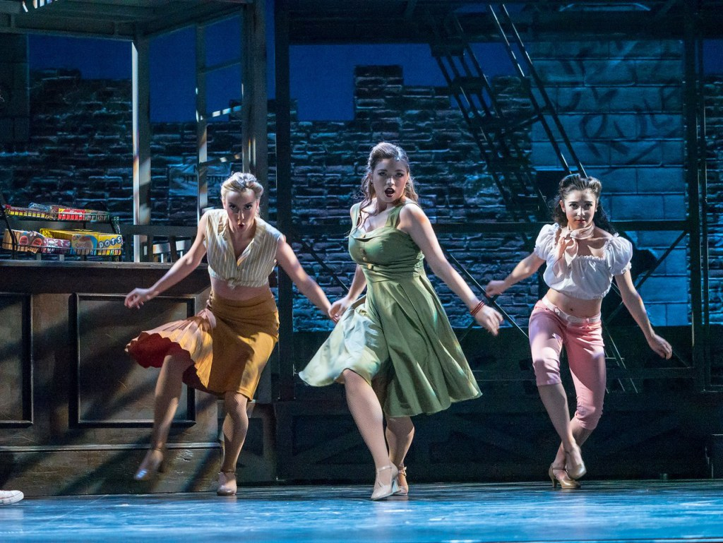 Melody Marti '18 (right) in a Montclair State production of West Side Story.