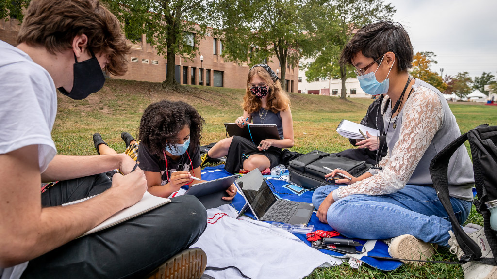 Much of life was spent outdoors, including study sessions on the Quad.