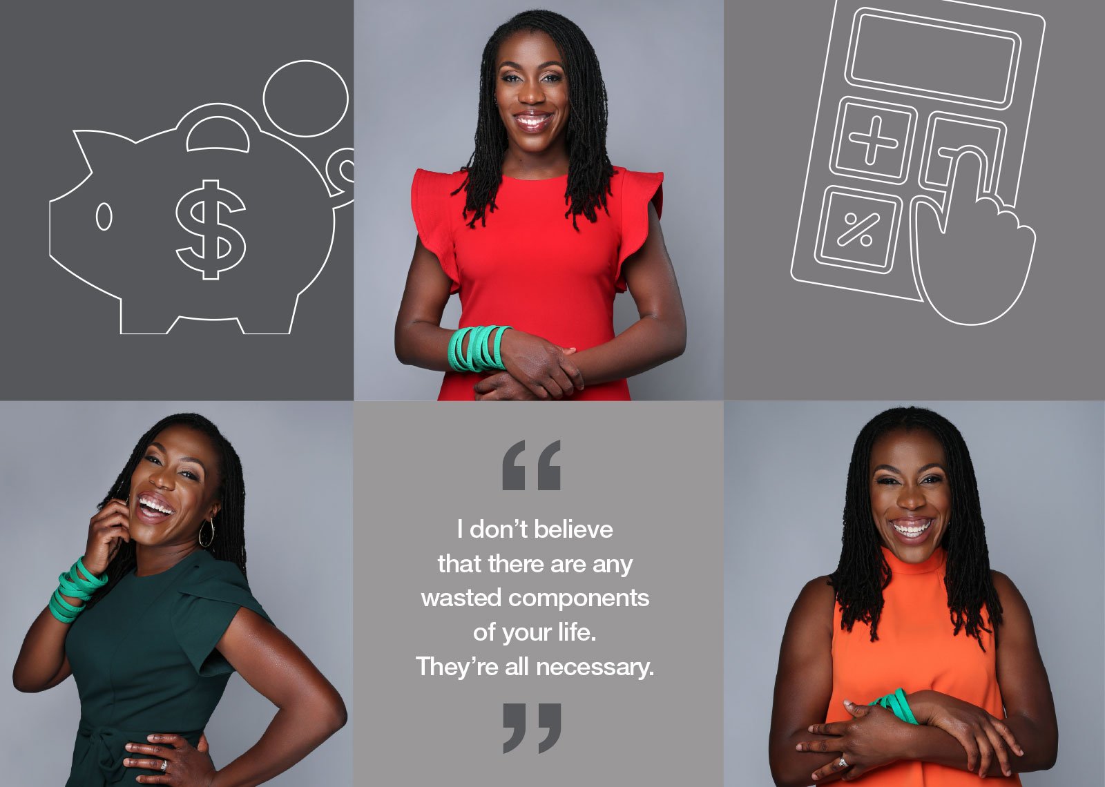 "Collage of Tiffany Aliche '01, with a quote that says ""I don't believe that there are any wasted components of your life. They're all necessary."""