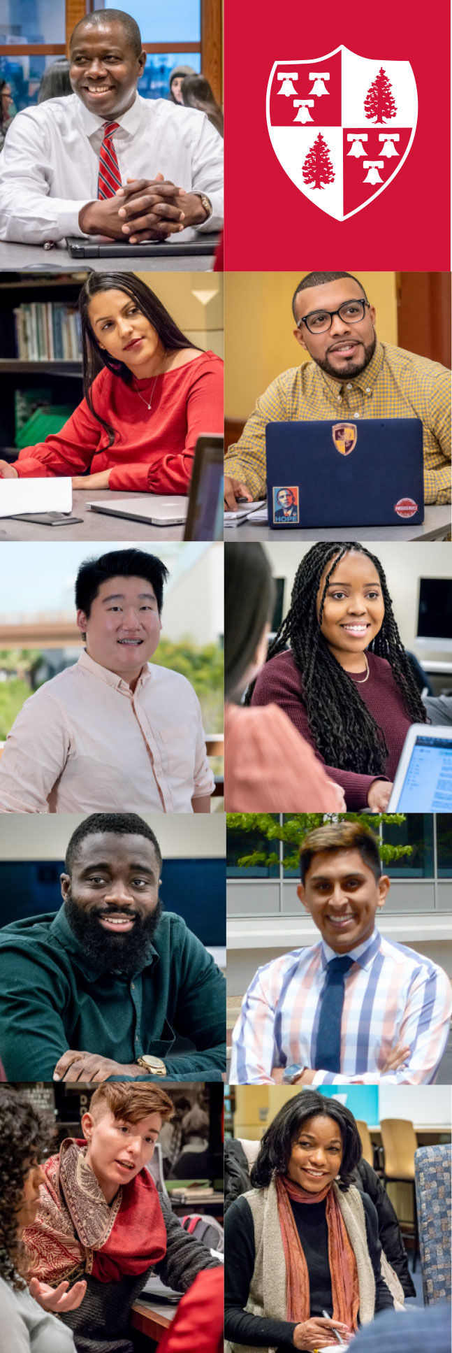 Graduates of the Educational Leadership master's program include (top to bottom, left) Peter Osebre '19, Natalie Lopez '19, Lucas Min '18, Kevin Brenfo-Agyeman '19, Jessy Cocciolone '19, (top to bottom, right) Claudio Alejo '19, Chelsea Rushing '19, Dann Truitt '14, '19 MA and Lynda Gary-Davidson '20.