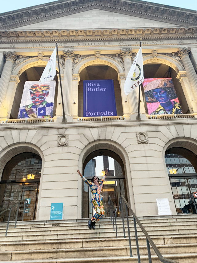 At the opening of her solo show, Bisa Butler: Portraits, Art Institute of Chicago, November 16, 2020.