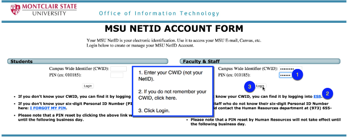 NetID Account Form Sign-in Page