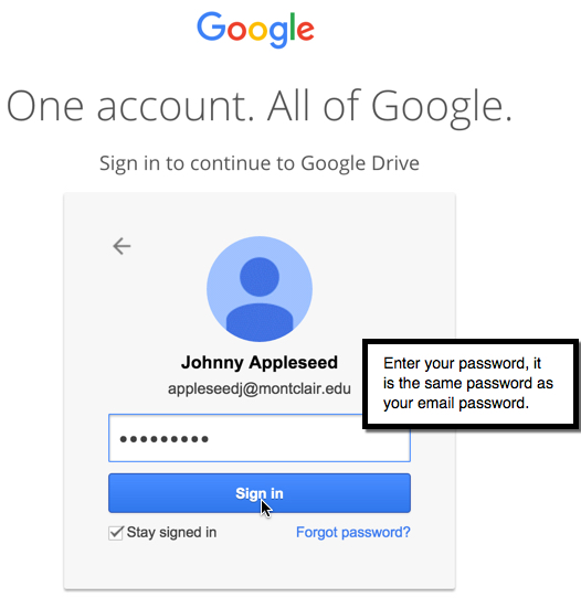 Password for Google Drive