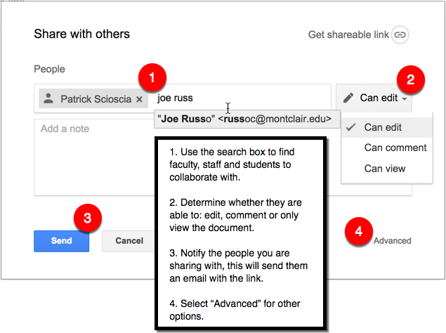 Sharing Options in Google Drive
