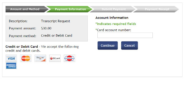The credit card payment page on TouchNET.