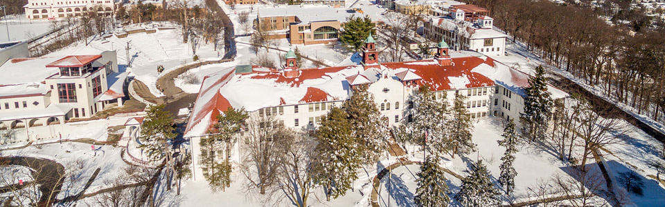 College Hall Aerial Snow Photo