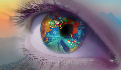 Graphic of a close up of an eye with the map of the Asian Pacific Islander countries.