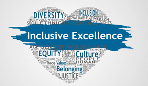 Graphic of a heart with the words Inclusive Excellence and other empowerment words throughout.