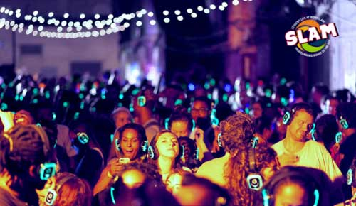 Picture of participants in last year's silent disco party.
