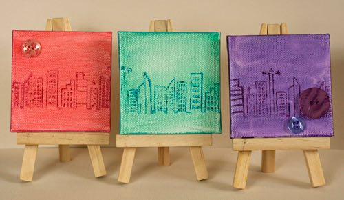 Picture of three mini canvas pictures.