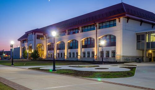 Picture of the science quad at night.