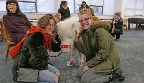 Picture of two Montclair State students posing with a miniature horse.