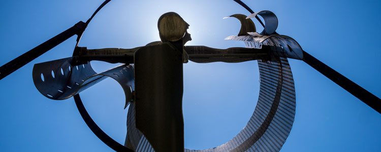 A picture of the Ophiuchus statue outside the CELS building.