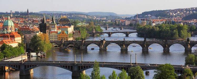 Some bridges in Prague, Czech Republic.