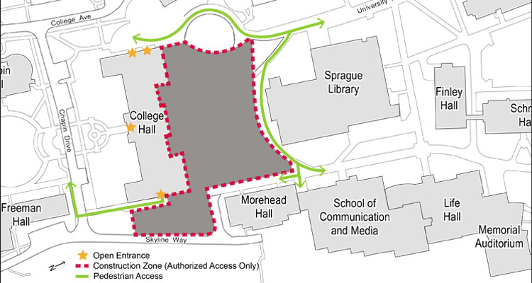 College Hall walkway detour