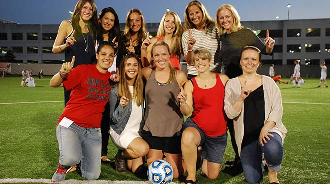 2004 Women's Soccer Championship team celebrates