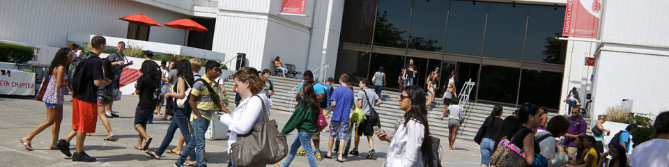 Students outside the Montclair State University Student Center.