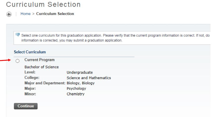 Screenshot of the Curriculum Selection screen with a Current Program being displayed.