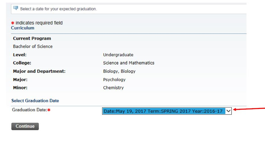 Screenshot of the Select Graduation Date dialogue box with Date: May 19, 2017 Term: Spring 2017 highlighted.