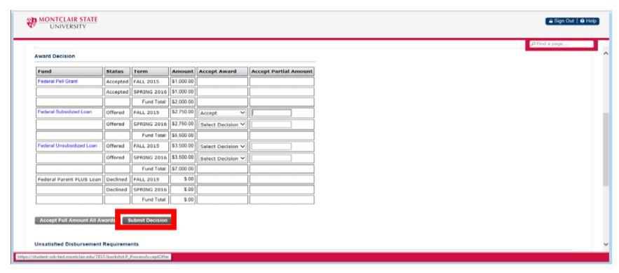 Screenshot of the NEST Financial Aid Award process.