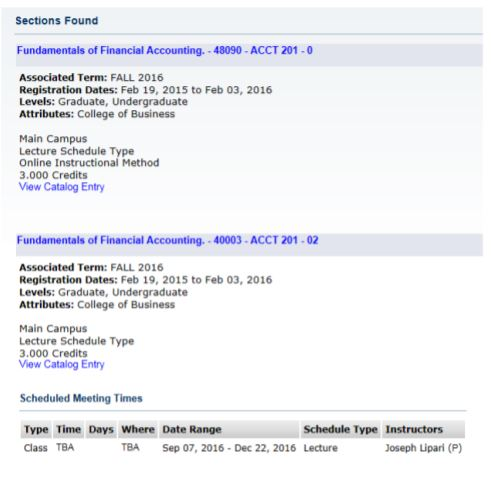Screenshot of a Section Search in Self-Service Banner.