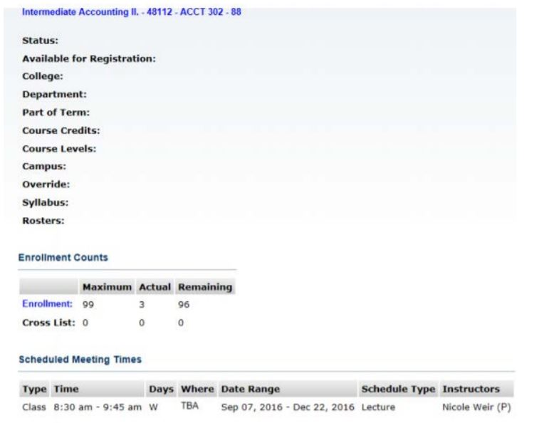 Screenshot of a class list with details about a class in SSB.