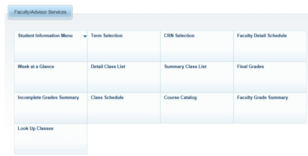 Screenshot of the Faculty/Advisor Services menu in SSB.