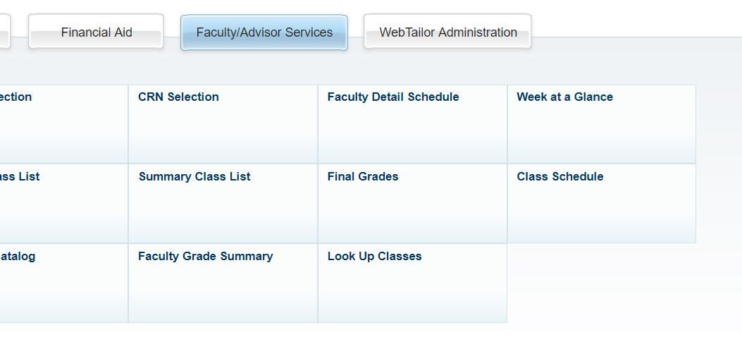 Screenshot of the Faculty/Advisors Services menu in Self-Service Banner.