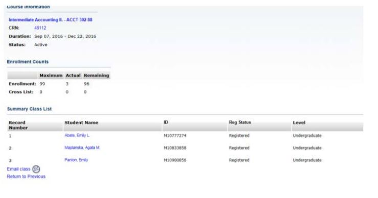 Screenshot of the summary class list in SSB.